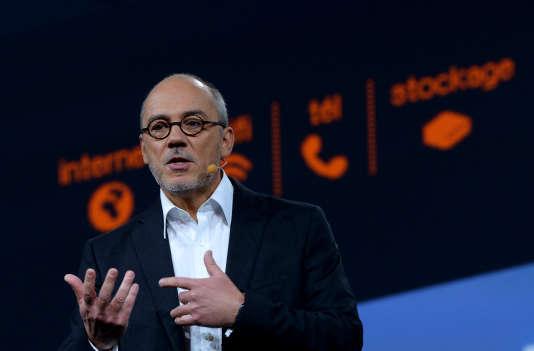 Stéphane Richard, le PDG d'Orange, le 16 mars. La banque en ligne lancée par l'opérateur de télécoms se présente comme entièrement gratuite.