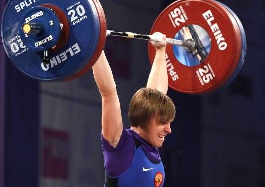La Russe Natalia Khlestkina, championne d'Europe en moins de 58 kilos, à Split, le 3 avril.