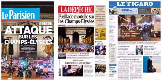 Collage réalisé à partir des«unes» du« Parisien», de«La Dépêche du Midi» et du«Figaro», datés du 21 avril.
