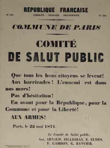 «Le dimanche 21 mai 1871, les troupes gouvernementales entrent dans Paris par la porte du Point-du-Jour. Le Comité de salut public appelle les citoyens à défendre la Commune : la capitale se couvre alors de plus de 500 barricades en 48 heures. Les dernières tombent le 28 mai 1871 et la répression est féroce.»