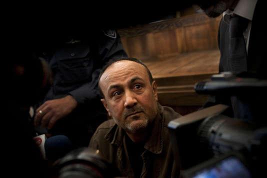 Le leader palestinien Marouane Barghouti lors d'un procès à Jérusalem en2012.