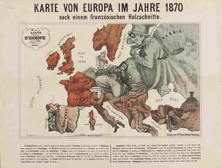 «Cette carte de l'Europe date de l'avant-guerre. Elle rend compte de manière humoristique des rapports de force entre nations européennes et de l'actualité du jeu diplomatique. Traduite et reproduite, cette carte a beaucoup circulé en Europe.»