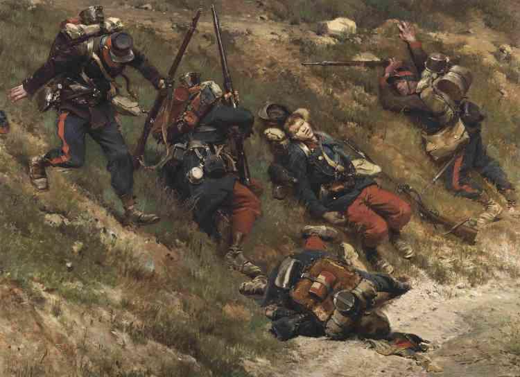 «Le panorama de la bataille de Champigny est le fruit de la collaboration entre Detaille et de Neuville. Inspirée du récit de combattants et de repérages effectués in situ, la toile, d'une superficie de 2 025m², est inaugurée le 6 mai 1882 dans une rotonde construite à cet effet sur les Champs-Elysées.»