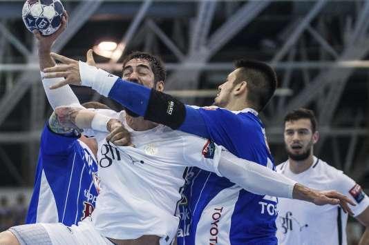 Nikola Karabatic lors du quart de finale de la Ligue des Champions PSG-Szeged, le 23 avril.