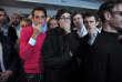Des soutiens de François Fillon expriment leur déception, le 23 avril, dans le QG de campagne du candidat LR à Paris.