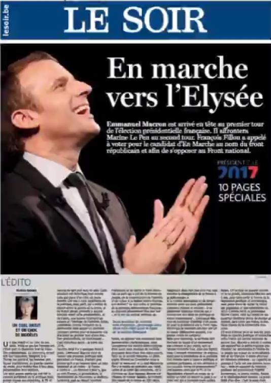 La une du quotidien belge Le Soir.