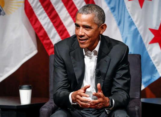 Barack Obama a fait un retour public à l'Université deChicago, le 24 avril.