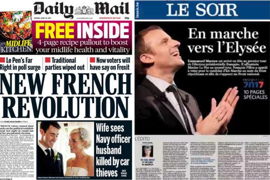 Les premières pages du quotidien britannique Daily Mail et du quotidien belge Le Soir du 24avril.