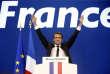 Emmanuel Macron à son QG de campagne au soir du premier tour de l'élection présidentielle.