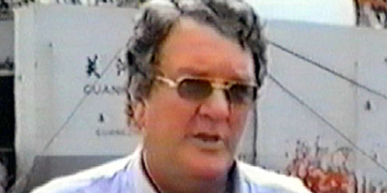 Photo de l'homme d'affaires néerlandais Guus Kouwenhoven datant de 1999, à Buchanan, au Liberia A picture taken in 1999 in Buchanan, Liberia