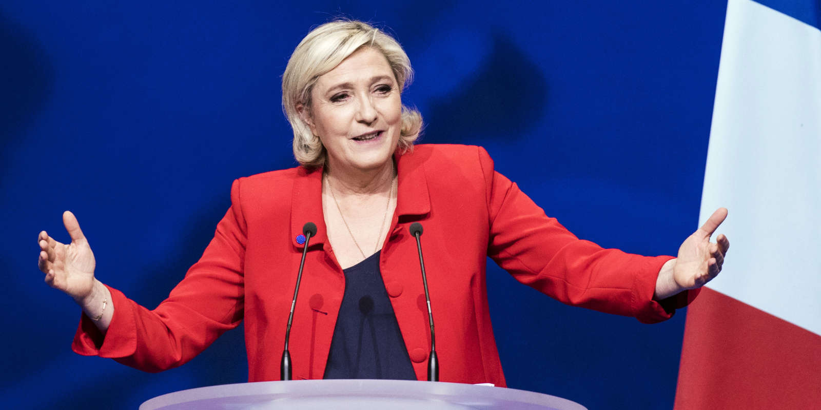 FILE - In this Monday, April 17, 2017 file photo, far-right candidate for the presidential election Marine Le Pen speaks during a campaign meeting in Paris. They could hardly be more different: Pro-European centrist Emmanuel Macron is facing anti-immigration, anti-EU Marine Le Pen in France's presidential runoff May 7. (AP Photo/Kamil Zihnioglu, file)
