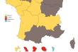Carte des régions après le premier tour de la présidentielle.