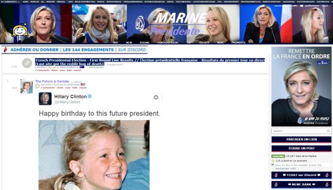 Le forum «r/le_pen» de Reddit, au départ français et depuis récupéré par les sympathisants étrangers de Marine Le Pen et de sa nièce.