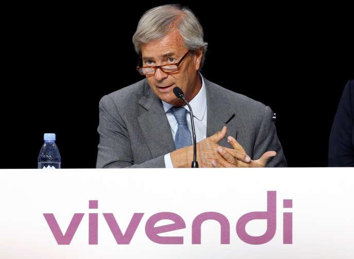 Vincent Bollore, le président de Vivendi, à Paris, le 25 avril 2016.