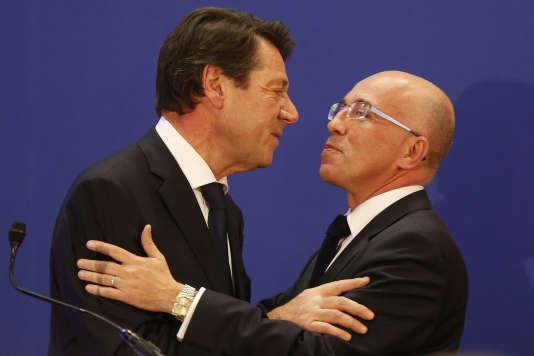 Christian Estrosi et Eric Ciotti lors d'un meeting pour les élections régionales à Nice (Alpes-Maritimes), en décembre 2015.