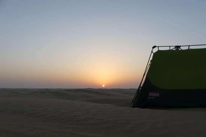 Vue du campement de Gauthier Toulemonde dans leRub al Khali.