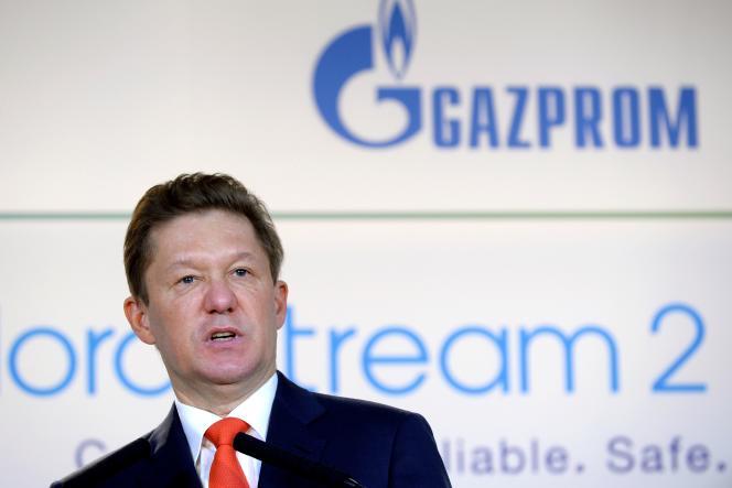 Le PDG de Gazprom, Alexeï Miller, à Paris le 24 avril, lors de la signature de l'accord financier pour le projet de gazoduc Nord Stream 2.