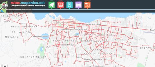 Carte des lignes de bus à Managua (Nicaragua) réalisée par des volontaires Openstreetmap.