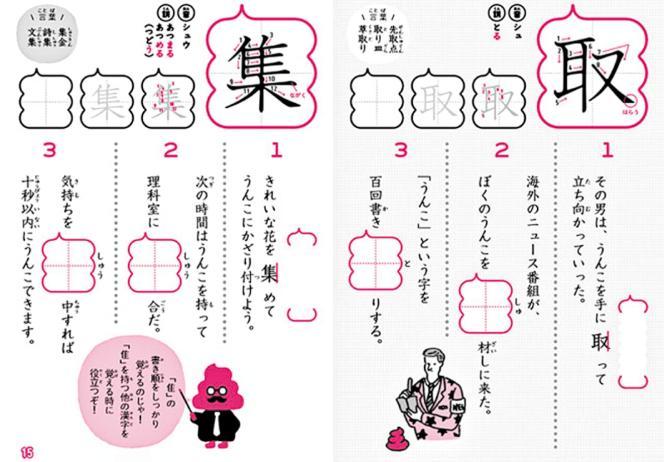 Chaque caractère est illustré par trois phrases incluant le mot « caca ».