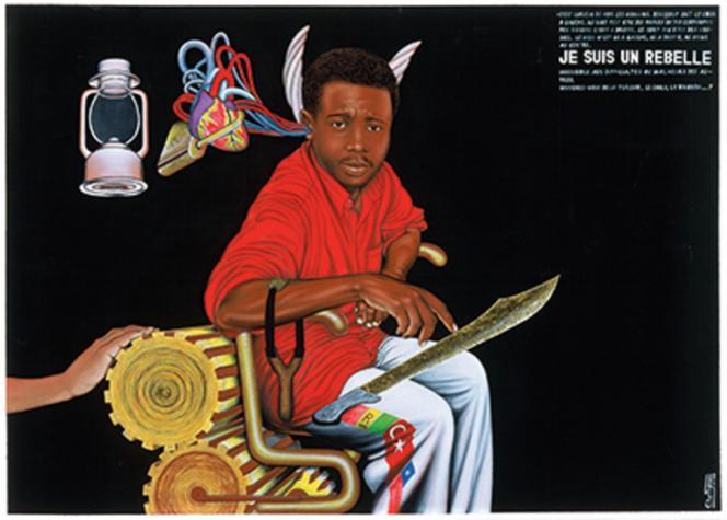Chéri Samba,« Je suis un rebelle», 1999. Acrylique, sequins et paillettes sur toile 146 x 204 cm.