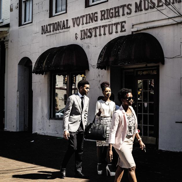 Devant l'ancien Musée des droits civiques, à Selma (Alabama).