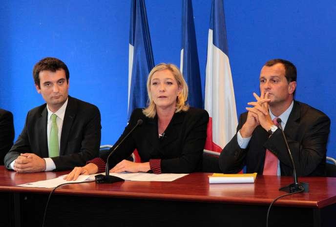Floran Philippot, Marine Le Pen et Louis Alliot, en 2011.