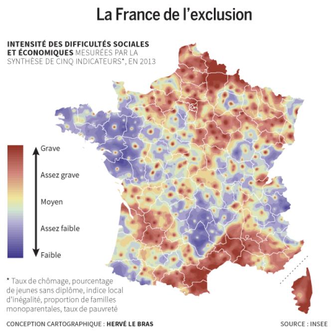 Cartographie des difficultés sociales et économiques.