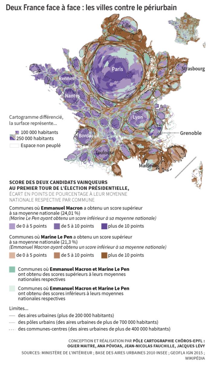 Cartographie des votes en faveur d'Emmanuel Macron et de Marine Le Pen au premier tour de l'élection présidentielle, le 23 avril 2017.