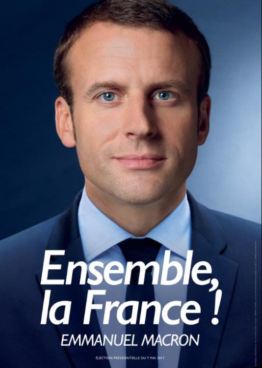 Affiche de campagne d'Emmanuel Macron pour le second tour de la campagne de l'élection présidentielle.