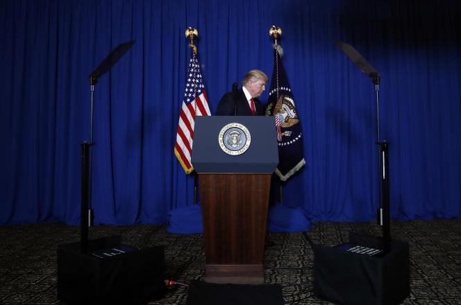 Le 6 avril, le président Donald Trump à Mar-a-Lago en Floride, après les frappes sur la Syrie.