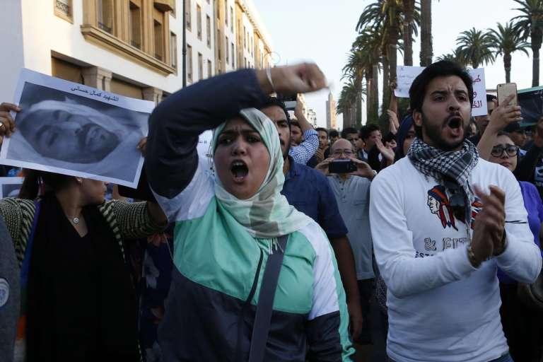 Manifestations, le 30 octobre 2016 à Rabat,pour protester contre la mort du jeune poissonnier Mouhcine Fikri.