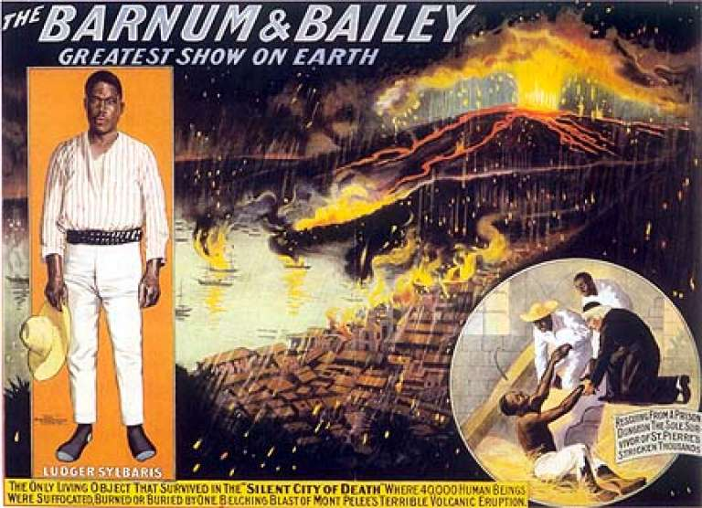 Affiche du cirque Barnum avec Louis-Auguste Cyparis.