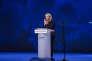 Marine Le Pen, candidate au deuxiième tour de la présidentielle 2017 fait un meeting à Nice le 27 avril 2017. La candidate pendant son discours.