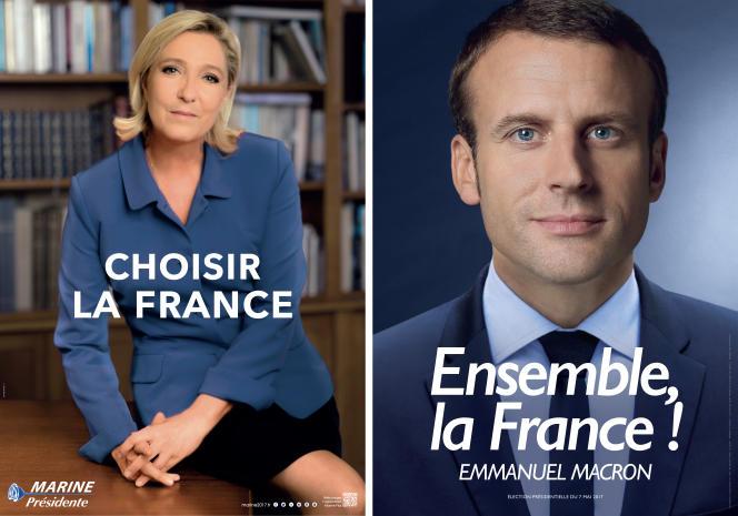 Affiches officielles de Marine Le Pen et d'Emmanuel Macron pour la campagne du second tour de l'élection présidentielle de 2017.