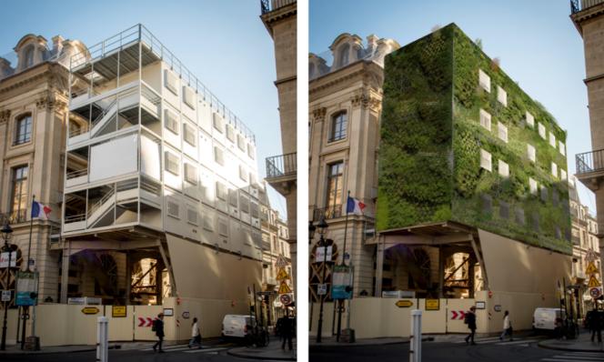 Frédéric Leyre, Clément Carrière et Nicolas Didier proposent de végétaliser les échafaudages pour compenser les désagréments visuels et sonores des grands chantiers et lutter contre les îlots de chaleur.