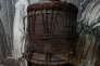 A carved wooden Pahu (drum), covered with a stretched sharkskin is on display at an exhibition of Arts and Society in the Marquesas Islands from the late 18th century to the early 19th century, at the Museum of Tahiti and the Islands on February 23, 2016 in Papeete. The exhibition is to be presented at the Quay Branly museum in Paris from April 12 to July 24, 2016. / AFP PHOTO / GREGORY BOISSY