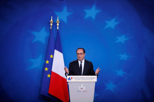 French President Francois Hollande attends his last summit presser after the EU summit in Brussels, Belgium, April 29, 2017. REUTERS/Christian Hartmann