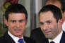 Manuel Valls et Benoît Hamon au siège du Parti socialiste, le 29 janvier.
