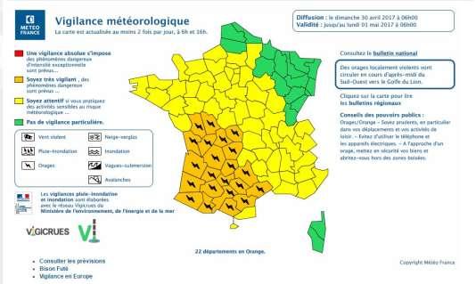 La carte de vigilance de Météo France le 30 avril.