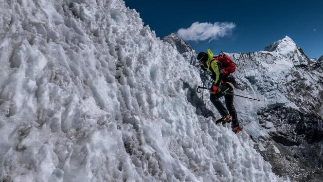 Ueli Steck lors d'un entraînement au Népal en février.