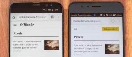 Le S8 à côté d'un mobile 5,2pouces(Honor 8). Leurs deux écrans mesurent 6,4centimètresde large.