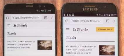 Le S8 à côté s'un mobile 5,5pouces (Samsung Galaxy S7 Edge)