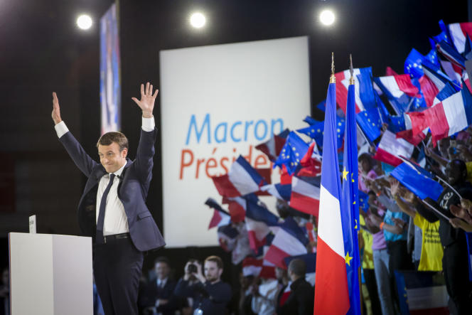 Meeting d'Emmanuel Macron au Paris Event Center à La Villette à Paris, lundi 1er mai.