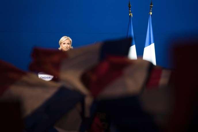 Marine Le Pen en meeting au Parc des expositions de Villepinte(Seine-Saint-Denis), le 1er mai.