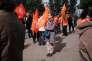Des membres de la CFDT prennent part, le 1er mai 2017, à un « rassemblement républicain » à Paris (au métro Jaurès) avec l'UNSA et la Fédération des associations générales étudiantes.