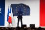 Emmanuel Macron lors de son discours de campagne à Châtellerault (Vienne) le 28 avril.