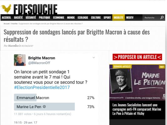 Capture d'écran du supposé tweet de Brigitte Macron, relayé par Fdesouche.
