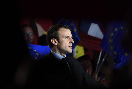 Emmanuel Macron, le candidat d'Enmarche! à la présidentielle, lors d'un meeting à Arras (Pas-de-Calais), le 27avril.