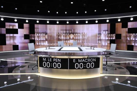 Le studio de La Plaine-Saint-Denis, où aura lieu le débat de l'entre-deux-tours entre Marine Le Pen et Emmanuel Macron, le 3mai.