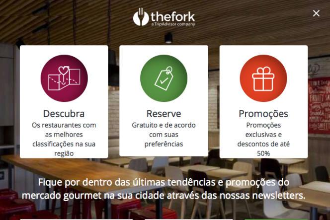 La page brésilienne d'inscription du site LaFourchette .